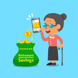 Business concept old woman using smartphone to earn money. For design Royalty Free Stock Photography