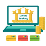 Business concept. Online banking. Bank of gold coins on the laptop monitor. Flat design. Royalty Free Stock Images