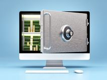 Business concept of online banking. Computer as a safe with money and coint Royalty Free Stock Photo