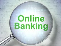 Business concept: Online Banking with optical glass. Business concept: magnifying optical glass with words Online Banking on digital background, 3D rendering Royalty Free Stock Image