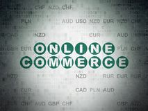 Business concept: Online Commerce on Digital Data Paper background. Business concept: Painted green text Online Commerce on Digital Data Paper background with Stock Image