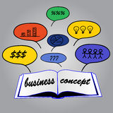 Business concept in open book. Ideas Stock Images