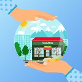 Business concept for opening bookstore. Business concept for opening the institution of bookstore. A woman is holding a glass ball with her hands, vector Royalty Free Stock Images