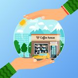 Business concept for opening the institution of coffe house. A woman is holding glass ball. Business concept for opening the institution of coffe house. A woman Stock Image