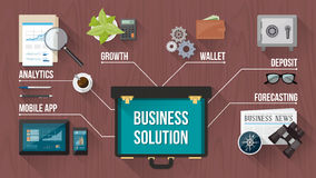 Business concept with oper briefcase. Business, finance and banking concepts with objects and open briefcase on a wooden desktop, top view Stock Photo