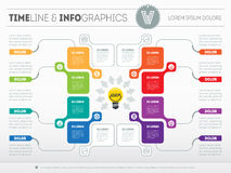Business concept with 8 options - from idea to final product. We. B Template of a chart, diagram. Vector infographic of technology or education process. Light royalty free illustration