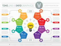 Business concept with 8 options - from idea to final product. We. B Template of a circle chart, diagram. Part of the report with icons set. Vector infographic of royalty free illustration