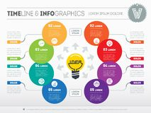 Business concept with 8 options - from idea to final product. We. B Template of a diagram or circle chart. Vector infographic of technology or education process stock illustration