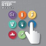 Business concept with 7 options, parts, steps or processes. Can be used for workflow layout, diagram, number options, web design stock illustration