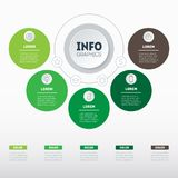 Business concept with 5 options, parts, steps or processes. Time. Line infographics. The development and growth of the eco-business. Time line of farming trends Stock Photos