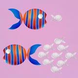 Creative Concept, Orange peel is a fish shape, Teamwork Concept. Business Concept, Orange peel is a fish shape, Teamwork Concept Illustration. Creative minimal Stock Images