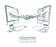 Business concept outsourcing handshake vector Royalty Free Stock Photo