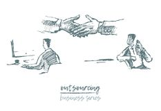 Business concept outsourcing handshake vector. Business concept, outsourcing, handshake of two businessmen, located far away from each other, vector illustration stock illustration