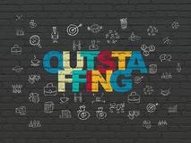 Business concept: Outstaffing on wall background. Business concept: Painted multicolor text Outstaffing on Black Brick wall background with  Hand Drawn Business Stock Photography