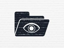 Business concept: Folder With Eye on wall background. Business concept: Painted black Folder With Eye icon on White Brick wall background Royalty Free Stock Photography