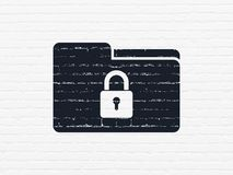 Business concept: Folder With Lock on wall background Royalty Free Stock Image