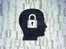 Business concept: Head With Padlock on Digital Data Paper background. Business concept: Painted black Head With Padlock icon on Digital Data Paper background Stock Images