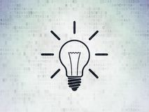 Business concept: Light Bulb on Digital Data Paper background. Business concept: Painted black Light Bulb icon on Digital Data Paper background Royalty Free Stock Image