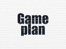 Business concept: Game Plan on wall background. Business concept: Painted black text Game Plan on White Brick wall background Stock Photography