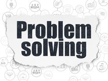 Business concept: Problem Solving on Torn Paper background. Business concept: Painted black text Problem Solving on Torn Paper background with Scheme Of Hand Royalty Free Stock Photo