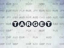 Business concept: Target on Digital Data Paper background. Business concept: Painted black text Target on Digital Data Paper background with Currency Royalty Free Stock Image