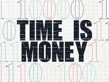 Business concept: Time is Money on wall background. Business concept: Painted black text Time is Money on White Brick wall background with Binary Code Royalty Free Stock Image
