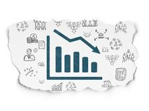 Business concept: Decline Graph on Torn Paper background. Business concept: Painted blue Decline Graph icon on Torn Paper background with Hand Drawn Business royalty free illustration