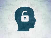 Business concept: Head With Padlock on Digital Data Paper background. Business concept: Painted blue Head With Padlock icon on Digital Data Paper background Stock Images