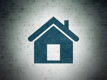 Business concept: Home on Digital Data Paper background. Business concept: Painted blue Home icon on Digital Data Paper background Stock Photography