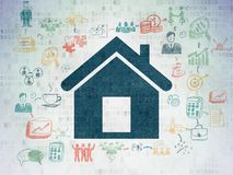 Business concept: Home on Digital Data Paper background. Business concept: Painted blue Home icon on Digital Data Paper background with Scheme Of Hand Drawn Royalty Free Stock Photography