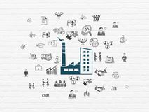 Business concept: Industry Building on wall background. Business concept: Painted blue Industry Building icon on White Brick wall background with  Hand Drawn Stock Images