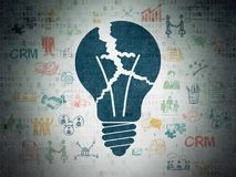 Business concept: Light Bulb on Digital Data Paper background. Business concept: Painted blue Light Bulb icon on Digital Data Paper background with Scheme Of Stock Photo