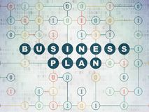 Business concept: Business Plan on Digital Data Paper background. Business concept: Painted blue text Business Plan on Digital Data Paper background with Binary Stock Photos