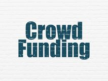 Business concept: Crowd Funding on wall background. Business concept: Painted blue text Crowd Funding on White Brick wall background Royalty Free Stock Photos