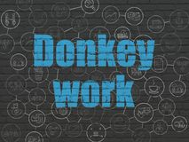 Business concept: Donkey Work on wall background. Business concept: Painted blue text Donkey Work on Black Brick wall background with Scheme Of Hand Drawn Stock Photography