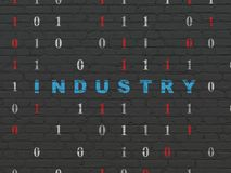 Business concept: Industry on wall background. Business concept: Painted blue text Industry on Black Brick wall background with Binary Code Royalty Free Stock Photos