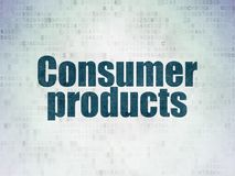 Business concept: Consumer Products on Digital Data Paper background. Business concept: Painted blue word Consumer Products on Digital Data Paper background Stock Photography