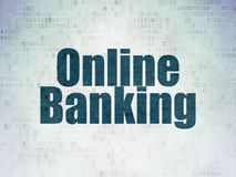Business concept: Online Banking on Digital Data Paper background. Business concept: Painted blue word Online Banking on Digital Data Paper background Royalty Free Stock Photography