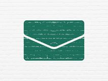Business concept: Email on wall background. Business concept: Painted green Email icon on White Brick wall background Royalty Free Stock Photo