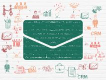 Business concept: Email on wall background. Business concept: Painted green Email icon on White Brick wall background with Scheme Of Hand Drawn Business Icons Royalty Free Stock Photo