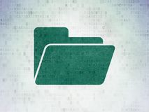 Business concept: Folder on Digital Data Paper background. Business concept: Painted green Folder icon on Digital Data Paper background Royalty Free Stock Image