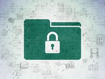 Business concept: Folder With Lock on Digital Data Paper background. Business concept: Painted green Folder With Lock icon on Digital Data Paper background with Stock Image