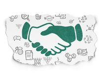 Business concept: Handshake on Torn Paper background. Business concept: Painted green Handshake icon on Torn Paper background with  Hand Drawn Business Icons Royalty Free Stock Images