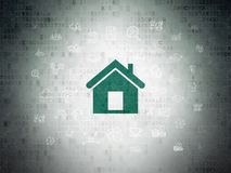 Business concept: Home on Digital Data Paper background. Business concept: Painted green Home icon on Digital Data Paper background with  Hand Drawn Business Stock Images