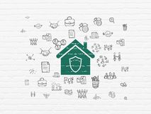 Business concept: Home on wall background. Business concept: Painted green Home icon on White Brick wall background with  Hand Drawn Business Icons Royalty Free Stock Images