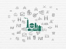 Business concept: Oil And Gas Indusry on wall background. Business concept: Painted green Oil And Gas Indusry icon on White Brick wall background with  Hand Royalty Free Stock Photography