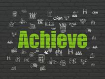 Business concept: Achieve on wall background. Business concept: Painted green text Achieve on Black Brick wall background with  Hand Drawn Business Icons Royalty Free Stock Photos
