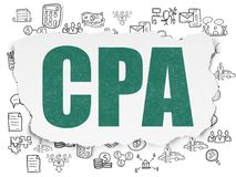 Business concept: CPA on Torn Paper background. Business concept: Painted green text CPA on Torn Paper background with  Hand Drawn Business Icons Royalty Free Stock Photo