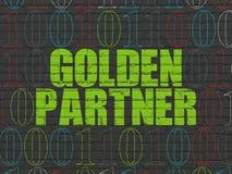 Business concept: Golden Partner on wall background. Business concept: Painted green text Golden Partner on Black Brick wall background with Binary Code Stock Photos