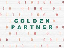 Business concept: Golden Partner on wall background. Business concept: Painted green text Golden Partner on White Brick wall background with Binary Code Stock Photo